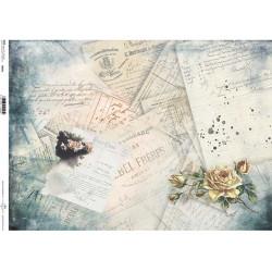 Papír rýžový A3 Historické dokumenty, dívka a růže