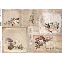 Papír rýžový A3 Vintage růže, nápisy