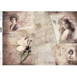 Papír rýžový A3 Historické dokumenty, dívky, květina