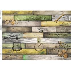 Papír rýžový A3 Barevné dřevo vintage potisk