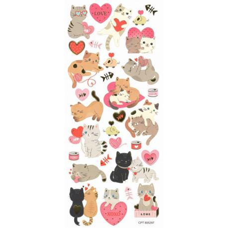 Samolepky Zamilované kočky, 10x23cm