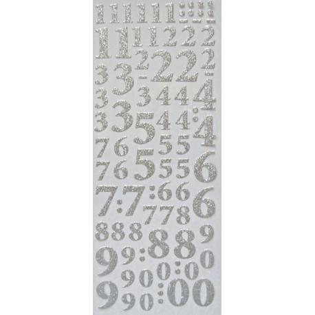 Samolepky Číslice třpytivé stříbrné