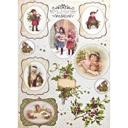 Scrap.papír A4 Vintage Time, vánoční štítky 3