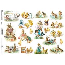 Scrap.papír A4 - Zajíc nese kuřátko a zajíčci čtou