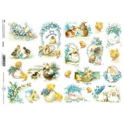 Scrap.papír A4 - Velikonoční pozdrav s pomněnkami, zajíčci a kuřátka