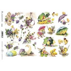 Scrap.papír A4 Velikonoční s fialkami a s kuřátky