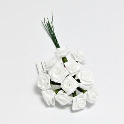 Kytice růžiček ze saténu 12ks bílé se zelenými stonky