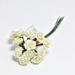 Kytice růžiček ze saténu 12ks béžové