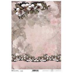 Papír rýžový A4 Květy, dorůžova