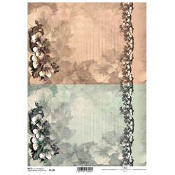 Papír rýžový A4 Květy v rohu a bordura, dva odstíny