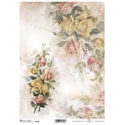 Papír rýžový A4 Růže v rohu a kytice růží