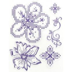 Transp.razítka D33 Křížkový steh - květiny