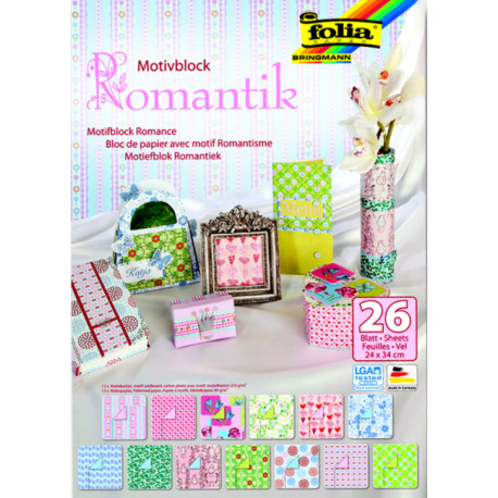 Blok vzorovaných papírů 26 listů - Romantik