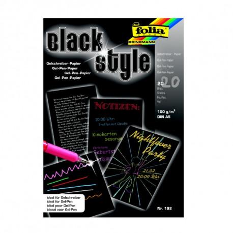 Black Style blok A5, černý papír pro gelová pera, 100g, 20 listů (F)
