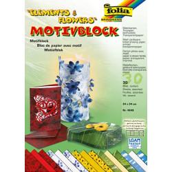 Blok s motivem květin a oblohy 24x34cm, 30ks, mix (F)