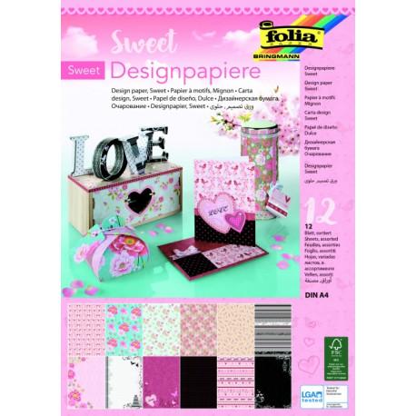 Designový papír v bloku A4, 12 listů - sladká láska