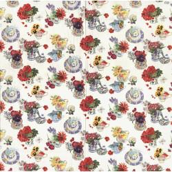 Porcelánové hrníčky a květiny 33x33