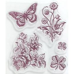 Transp.razítka - Květiny a motýlek