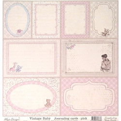 Vintage Baby, Journaling cards pink, 30,5x30,5cm (MD)