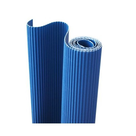 E - Vlnitá lepenka 50x70cm v roli, modrá (F)