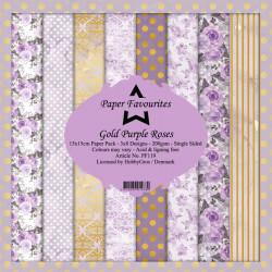 Sada papírů 15x15 Gold Purple Roses (PF)