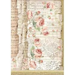 Papír rýžový A4 Princess, růže a noty