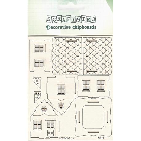 Domeček 3D - 1ks chipboards (z 9 dílků)