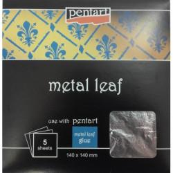 Metal leaf - metalické listy 5ks, stříbrné (Pentart)