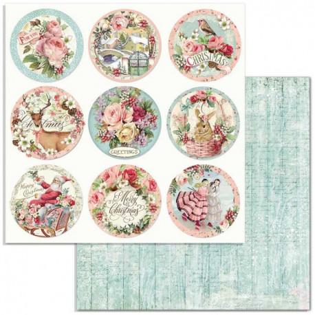 Pink Christmas, kulaté obrázky 30,5x30,5 scrapbook