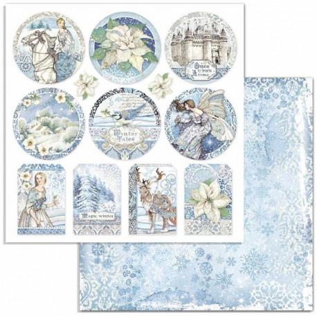 Winter Tales, kulaté obrázky a visačky 30,5x30,5 scrapbook