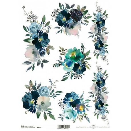 Papír rýžový A4 Krajina elfů, modré květy