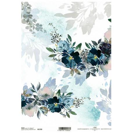 Papír rýžový A4 Krajina elfů, květy akvarel