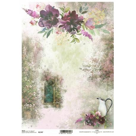 Papír rýžový A4 Tajemná zahrada, dveře, džbán