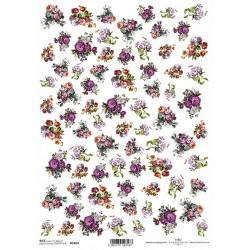 Papír rýžový A4 Malé kytičky, anemonky, astry