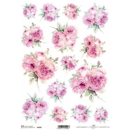 Papír rýžový A4 Shabby Chic, růže