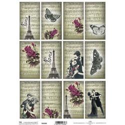Scrap.papír A4 Kartičky - Paris, noty,růže, páry