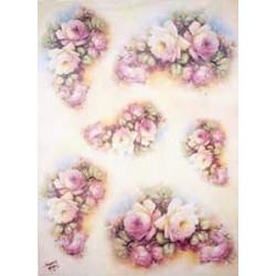 Papír rýžový 35x50 Kytice růží na světle růžovém(7714)
