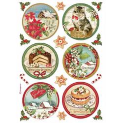 Papír rýžový A4 Classic Christmas, kulaté obrázky