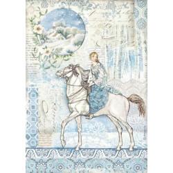 Papír rýžový A4 Winter Tales, víla na koni