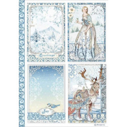 Papír rýžový A4 Winter Tales, 4 kartičky
