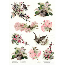 Papír rýžový A4 Větvičky s růžovými květy, ptáčci