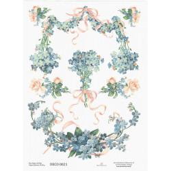 Papír rýžový A4 Pomněnky a růže