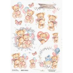 Papír rýžový A4 Oslava s medvídky
