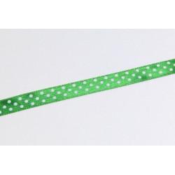Saténová stuha s puntíky, 10mm - zelená trávová