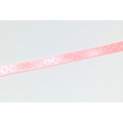 Saténová stuha s puntíky, 10mm - jasná růžová
