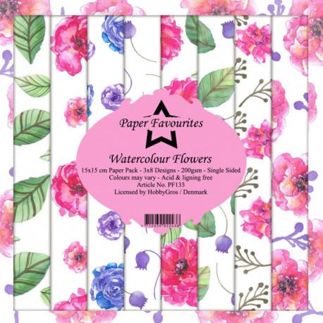 Sada papírů 15x15 Watercolour Flowers (PF)