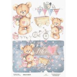 Papír rýžový A4 Pro chlapce s medvídky