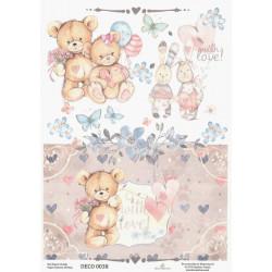 Papír rýžový A4 Pro dívky s medvídky
