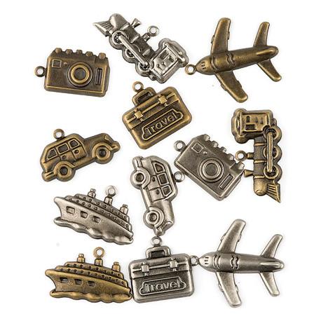 Set kovových přívěsků - cestování