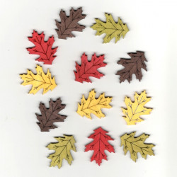Dřev.dekorace barevné - listy 4cm, 12ks